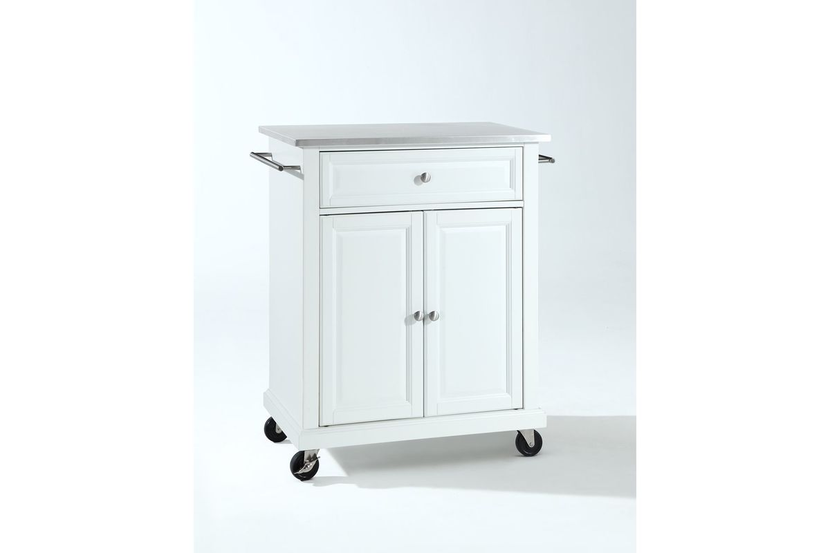 Stainless Steel Top Portable Kitchen Cart Island In White By Crosley