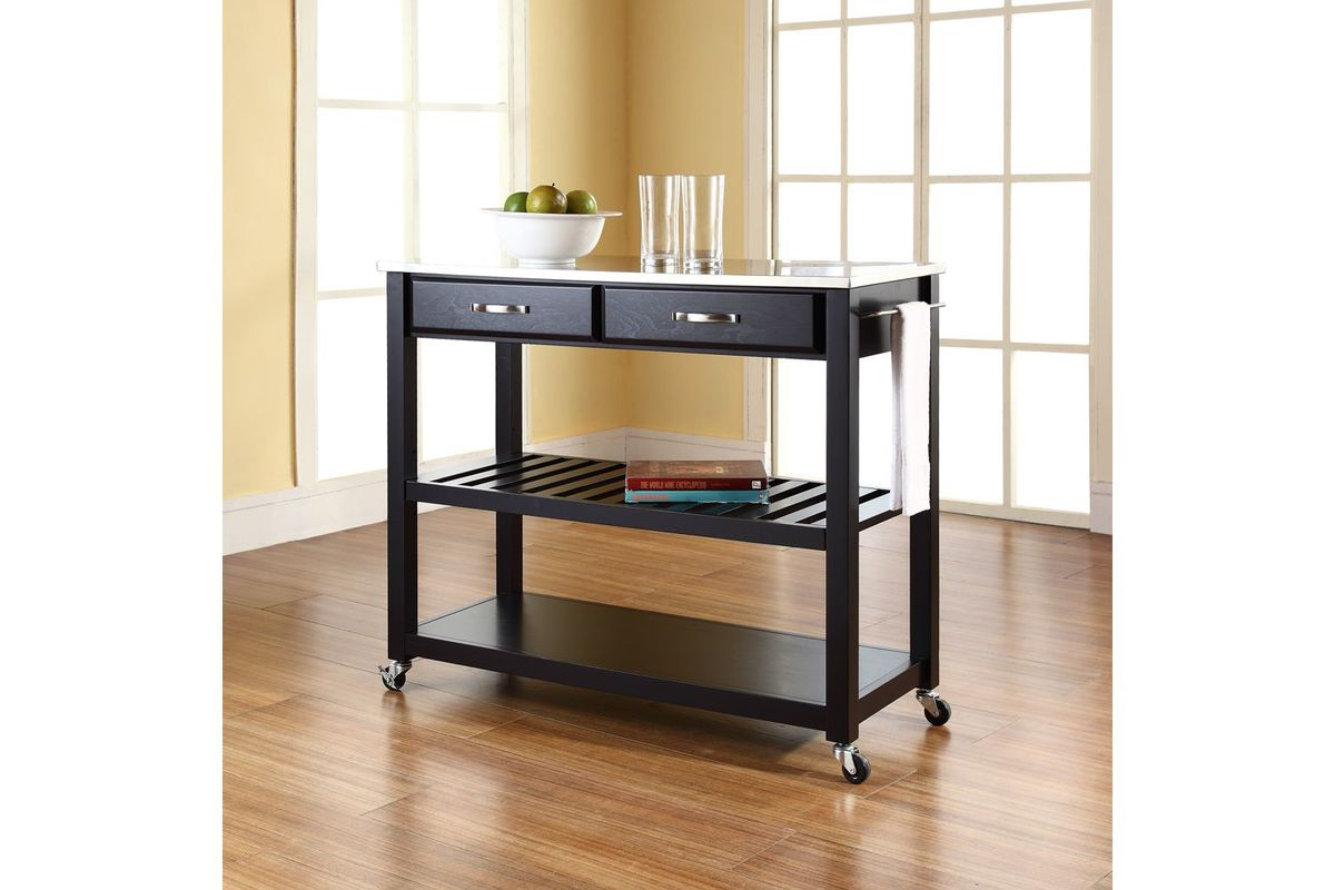 stainless steel top kitchen cart island with optional stool storage in