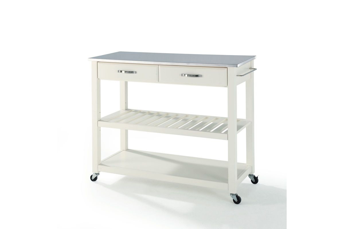 Stainless Steel Top Kitchen Cart Island With Optional Stool Storage In White By Crosley