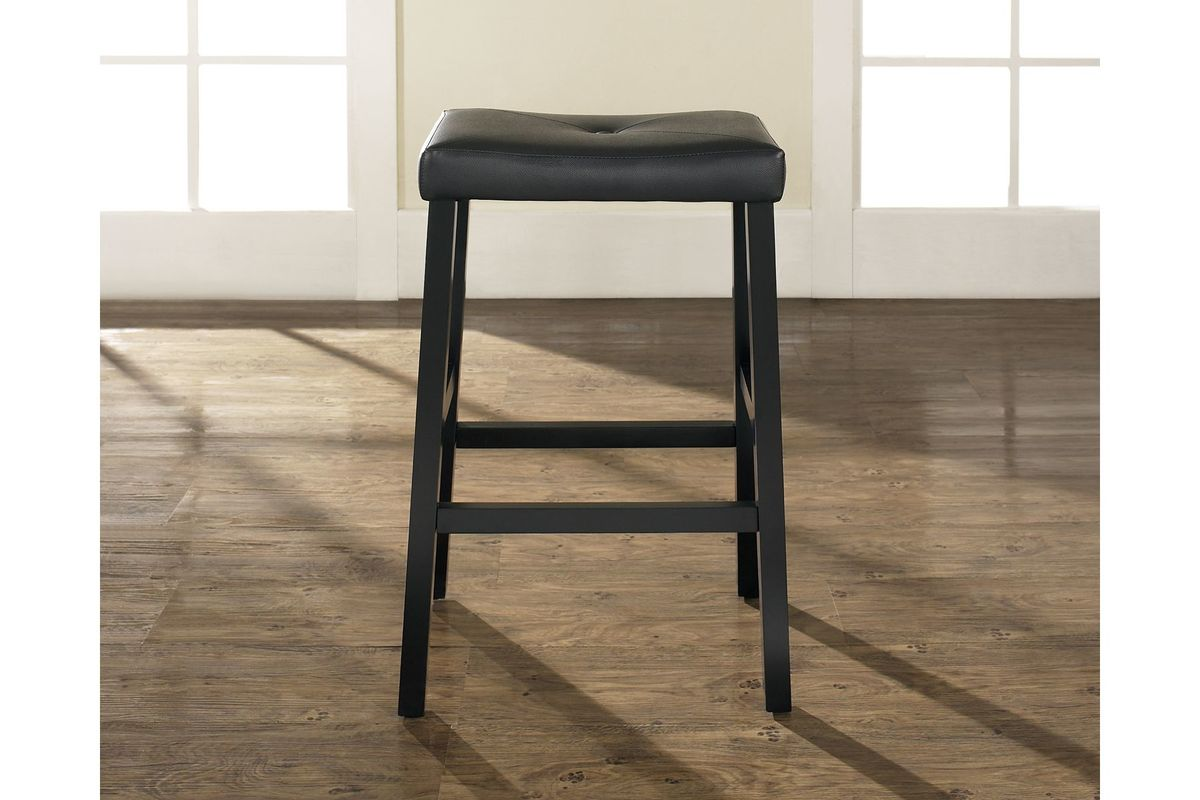 Upholstered Saddle Seat Bar Stool In Black With 29 Inch