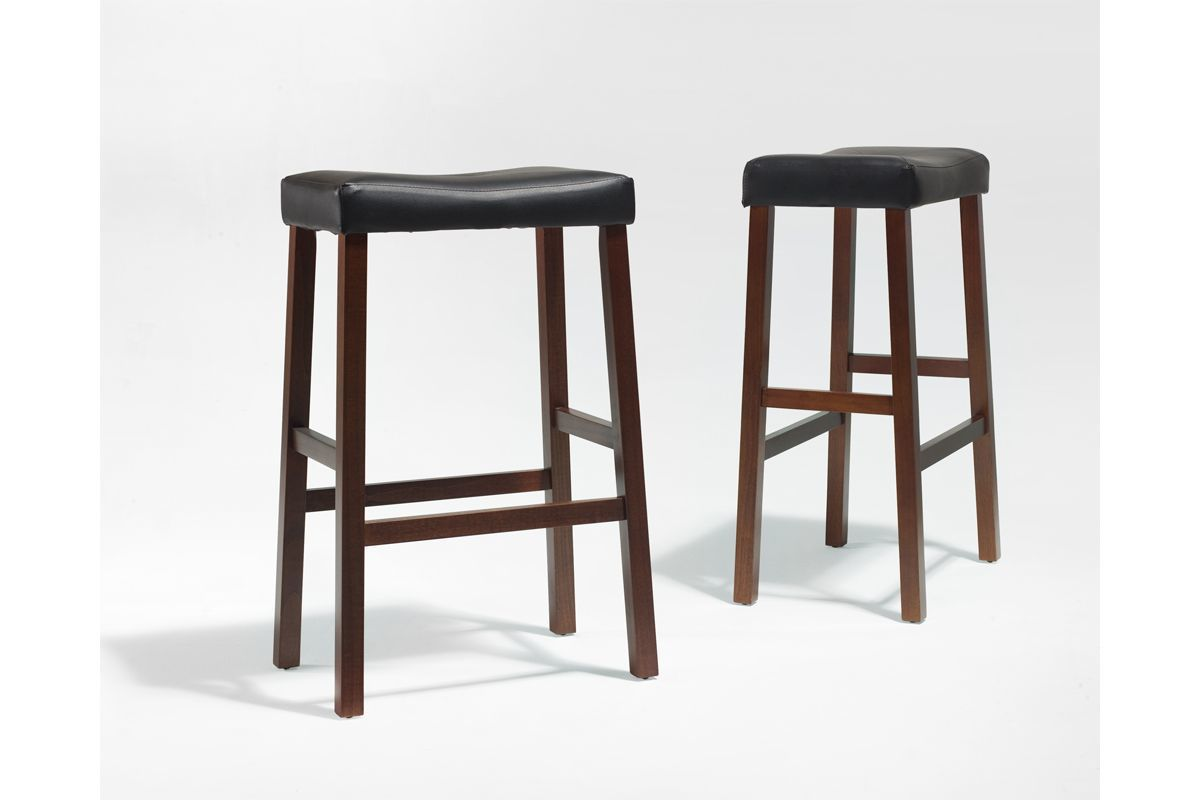 Upholstered Saddle Seat Bar Stool In Classic Cherry With