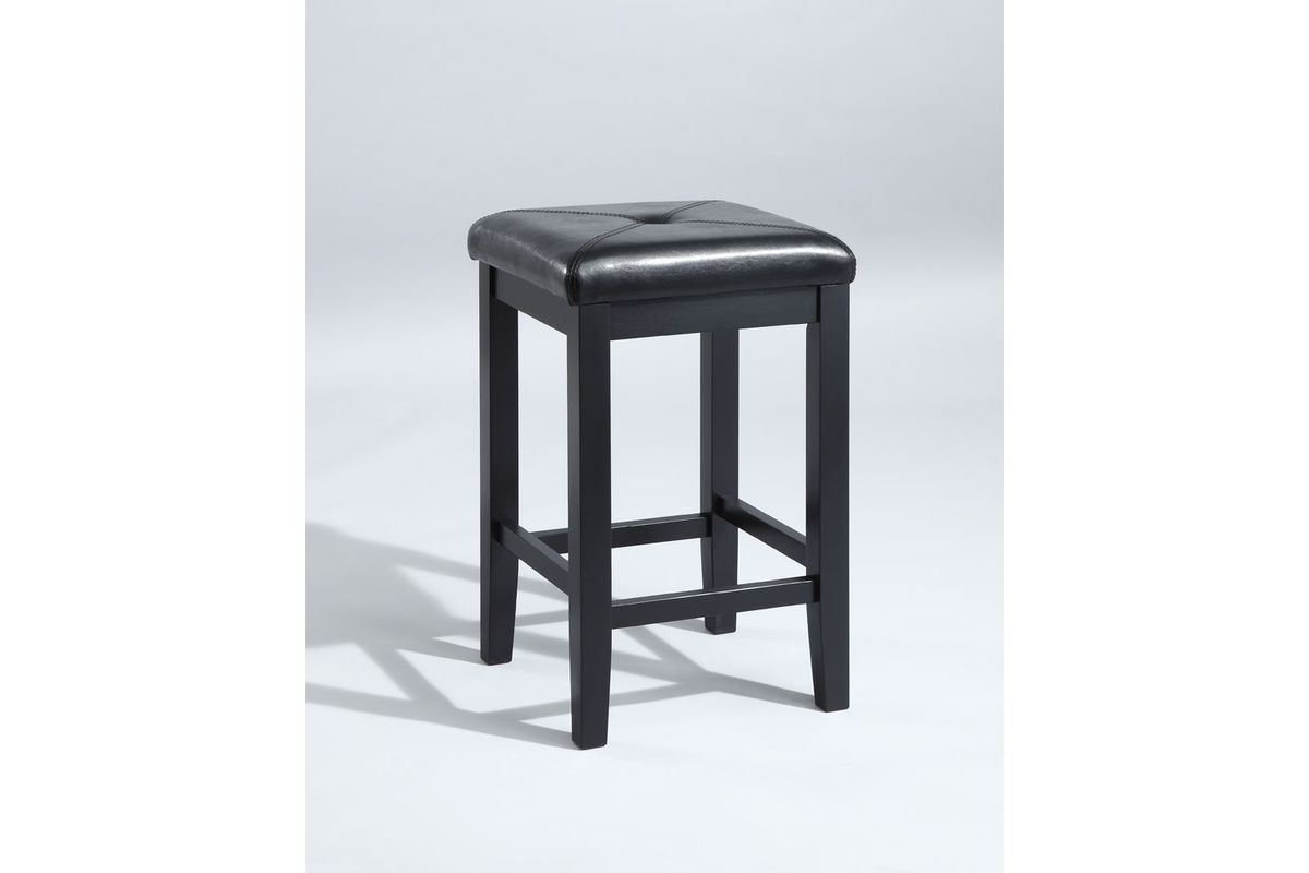 Upholstered Square Seat Bar Stool In Black With 24 Inch