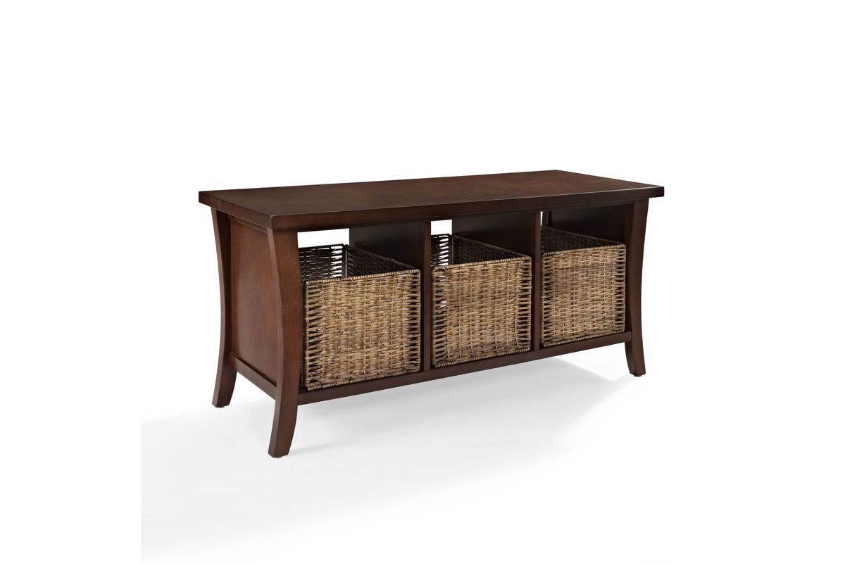 Wallis Entryway Storage Bench In Mahogany By Crosley At Gardner White