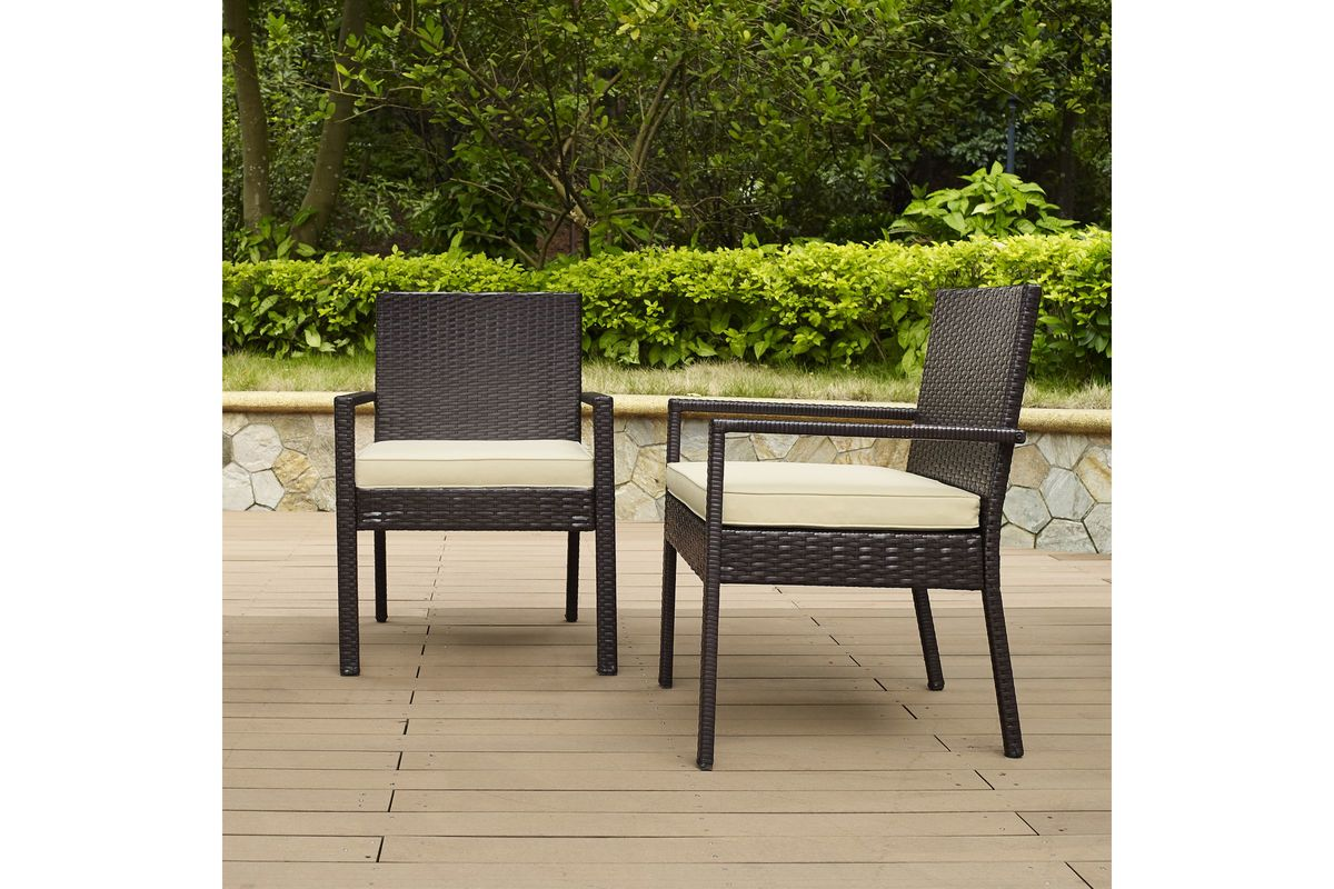 Palm Harbor Outdoor Wicker Dining Chair Set Of Two In Brown By Crosley