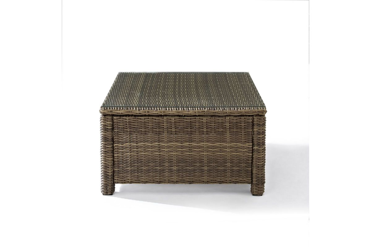 Bradenton Sectional Glass Top Coffee Table In Weathered
