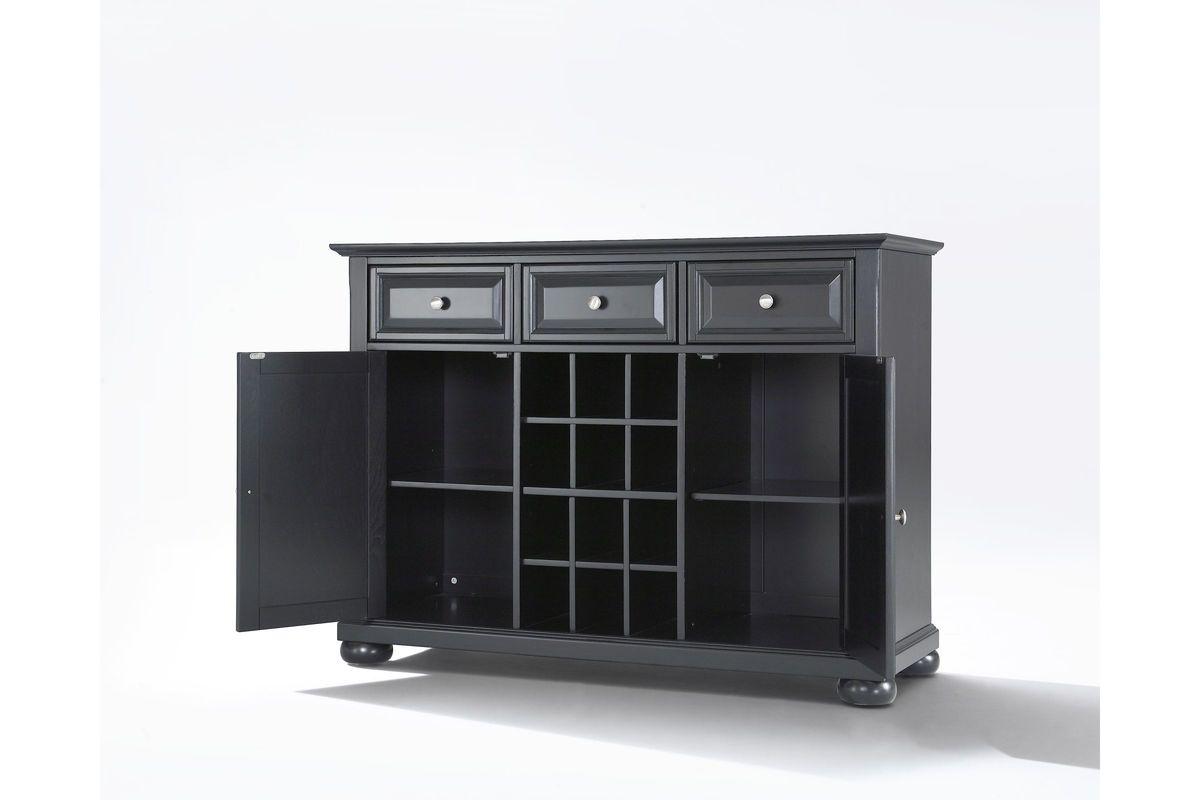black wine cabinet. Alexandria Buffet Server Sideboard Cabinet With Wine Black