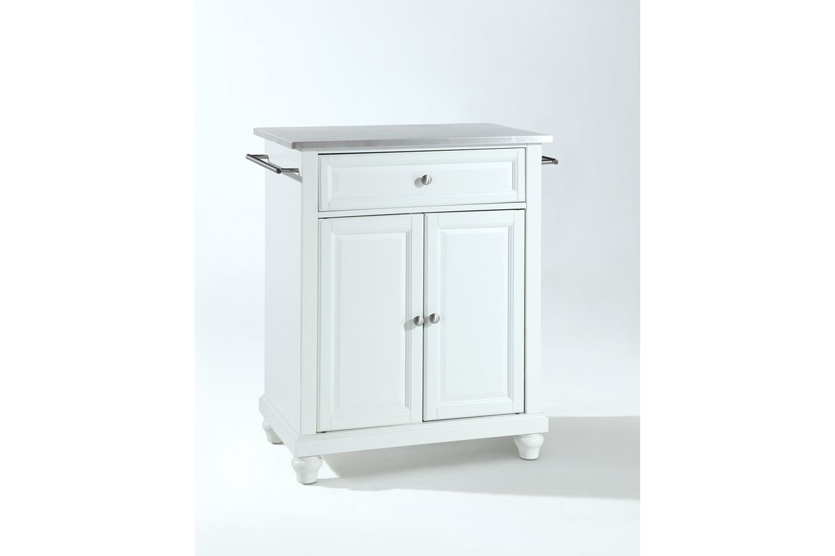 Cambridge Stainless Steel Top Portable Kitchen Island In White Finish By Crosley