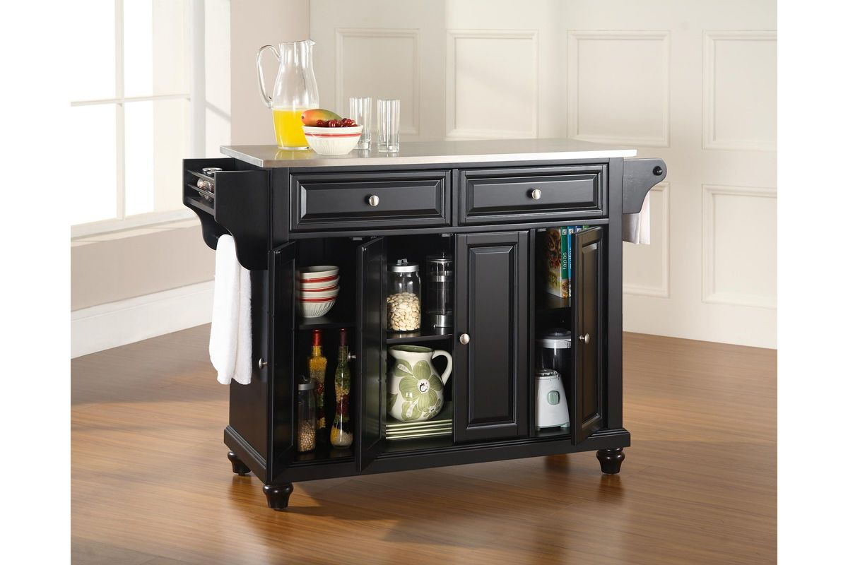 Cambridge Stainless Steel Top Kitchen Island In Black Finish By Crosley