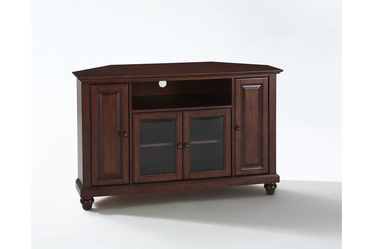 cambridge 48 corner tv stand in vintage mahogany by crosley. Black Bedroom Furniture Sets. Home Design Ideas