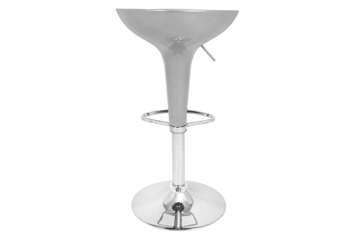 Scooper Height Adjustable Barstool With Swivel In Silver