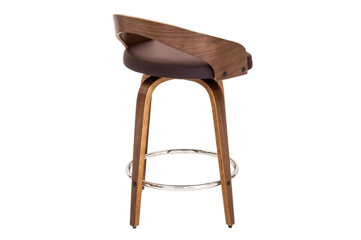 Grotto Counter Stool With Walnut Wood And Brown Bonded