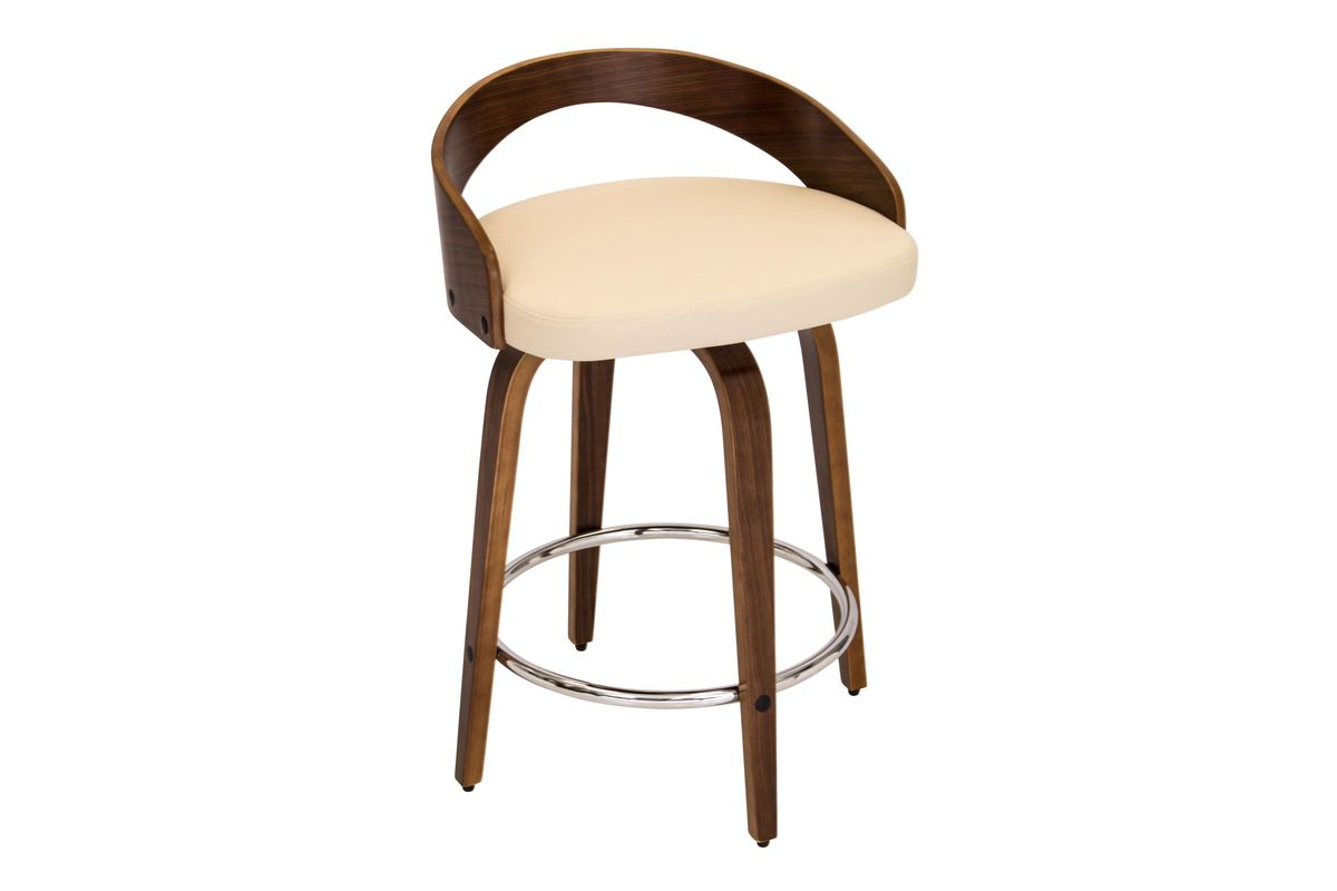 Grotto Counter Stool With Walnut Wood And Cream Bonded