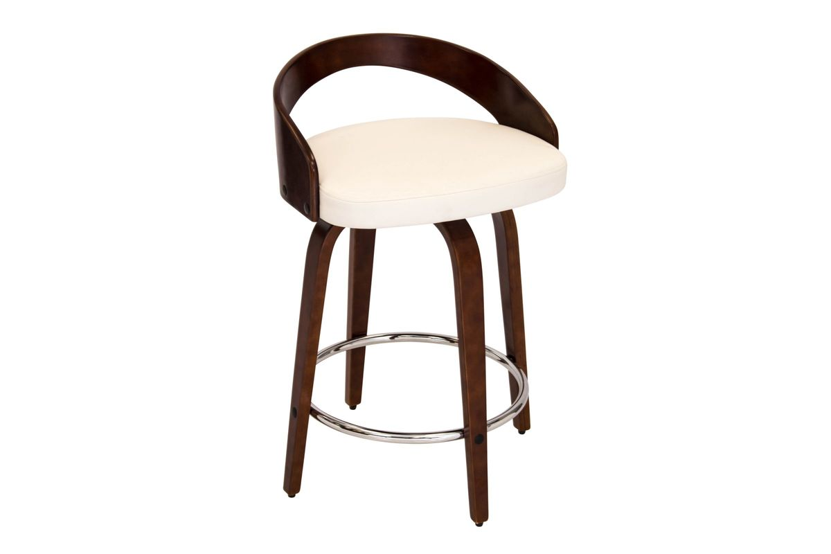 Grotto Counter Stool With Walnut Wood And White Bonded