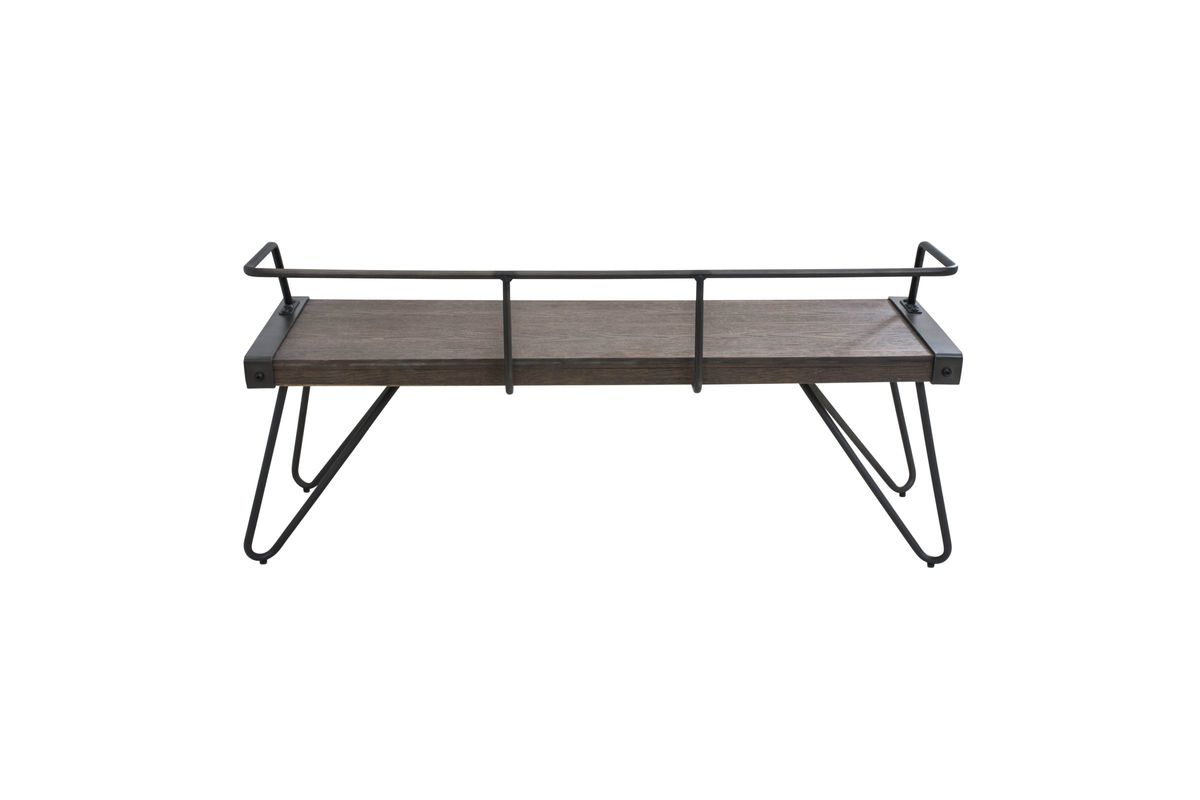 Stefani Industrial Bench In Antique Metal And Walnut Wood By Lumisource Fdrop 161229