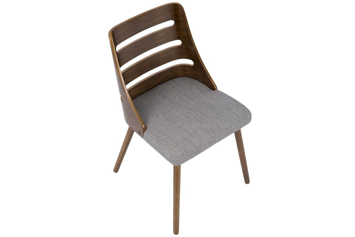 Trevi Mid Century Modern Dining Chair In Grey Fabric And