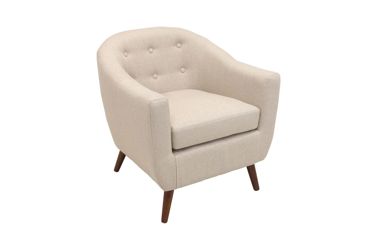 Rockwell Mid Century Modern Accent Chair In Cream By