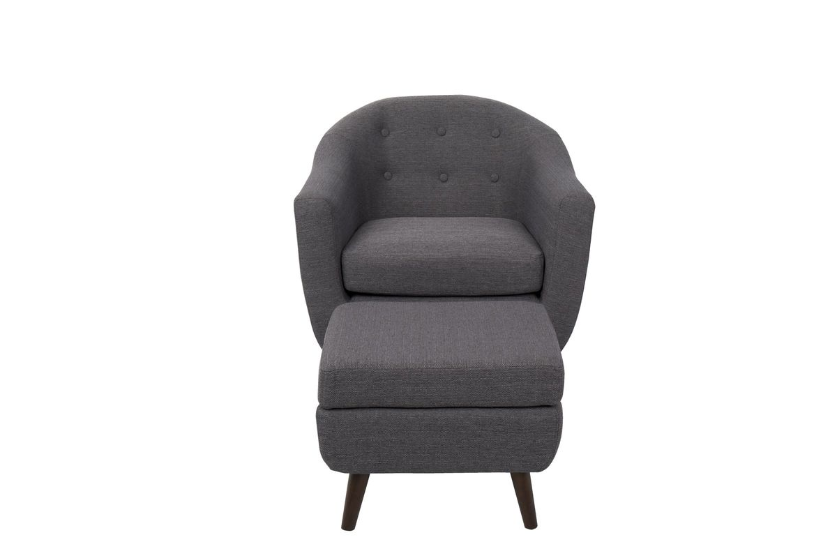 Rockwell Mid-Century Modern Chair With Ottoman In Charcoal