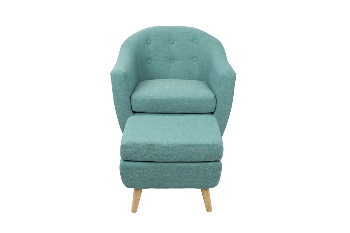 Rockwell Mid-Century Modern Chair With Ottoman In Teal By
