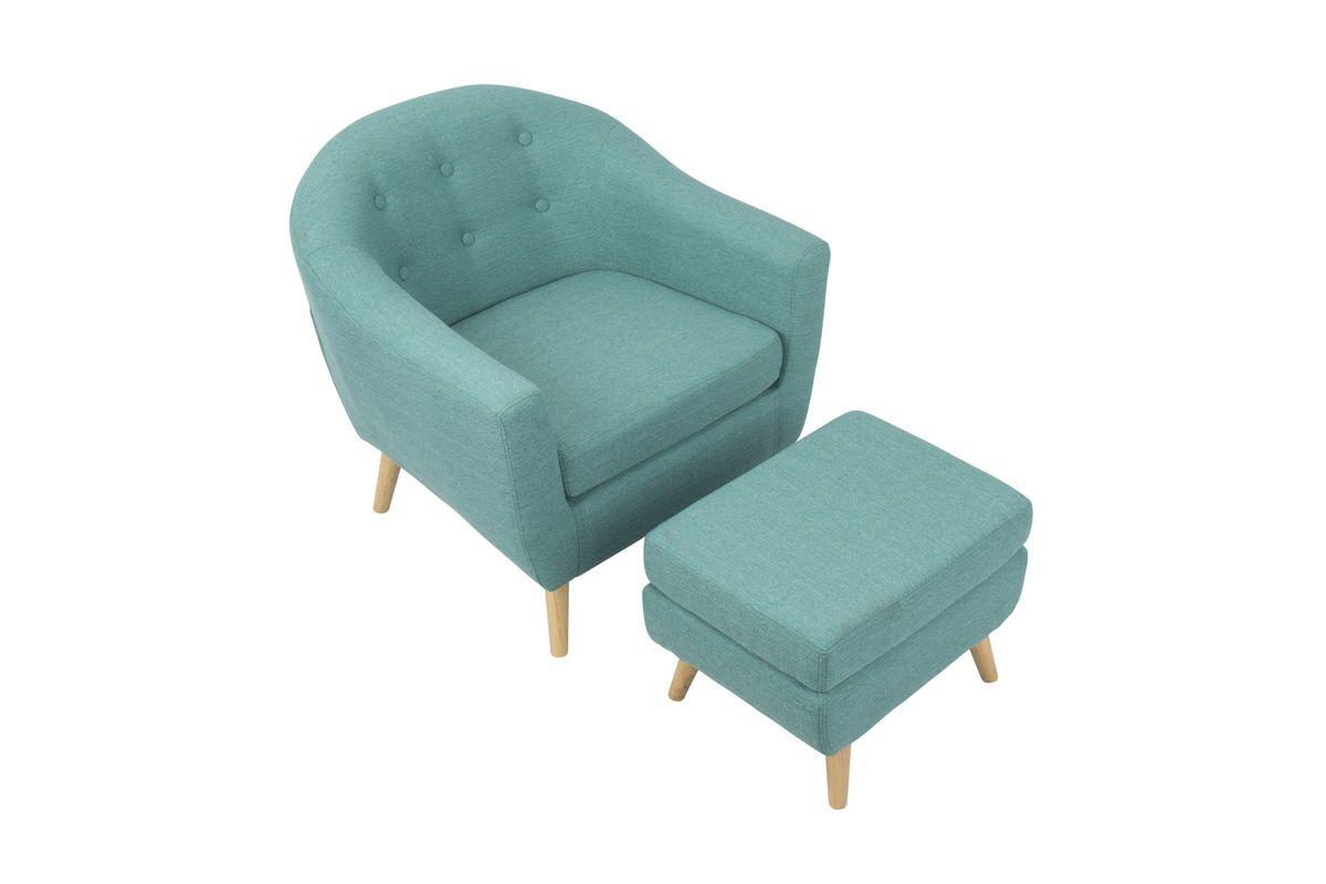 Rockwell Mid Century Modern Accent Chair: Rockwell Mid-Century Modern Chair With Ottoman In Teal By
