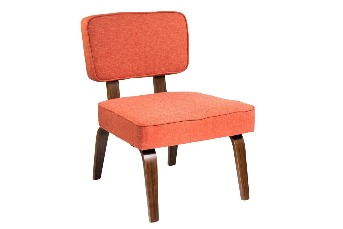 Nunzio Mid-Century Modern Accent Chair In Deep Orange By