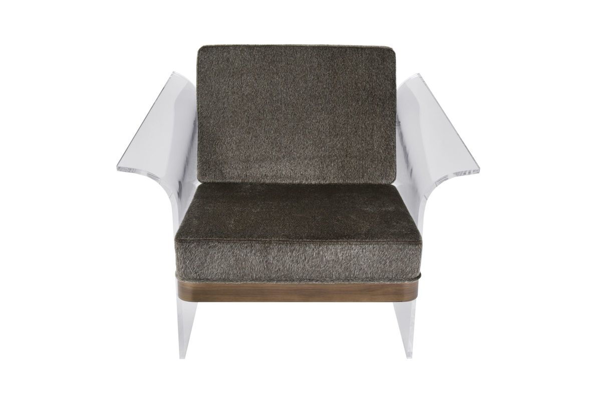 Float Chair In Brown Mohair Fabric Accented By Walnut Wood