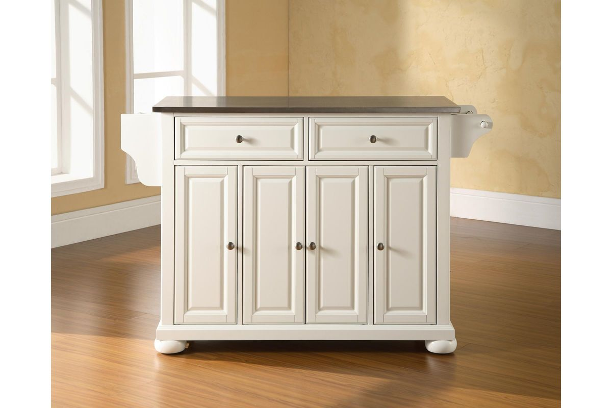 alexandria stainless steel top kitchen island in white finish by crosley