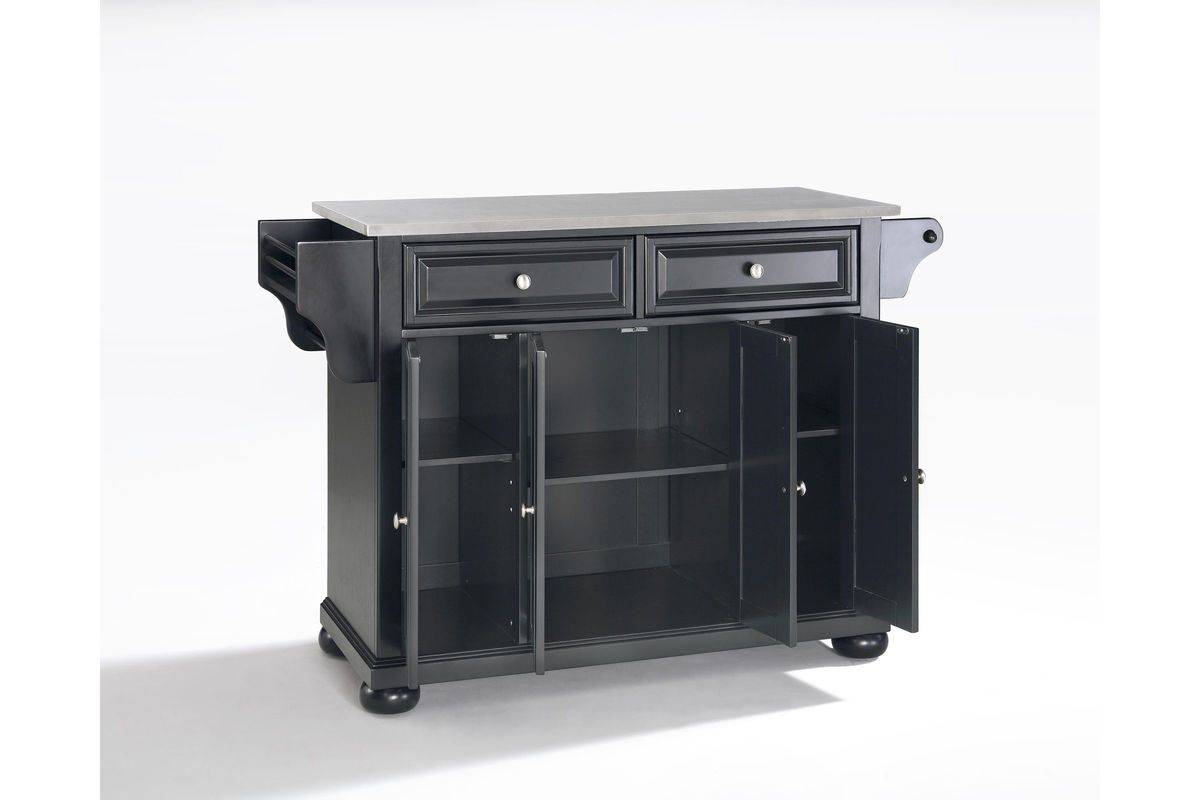 Alexandria Stainless Steel Top Kitchen Island In Black