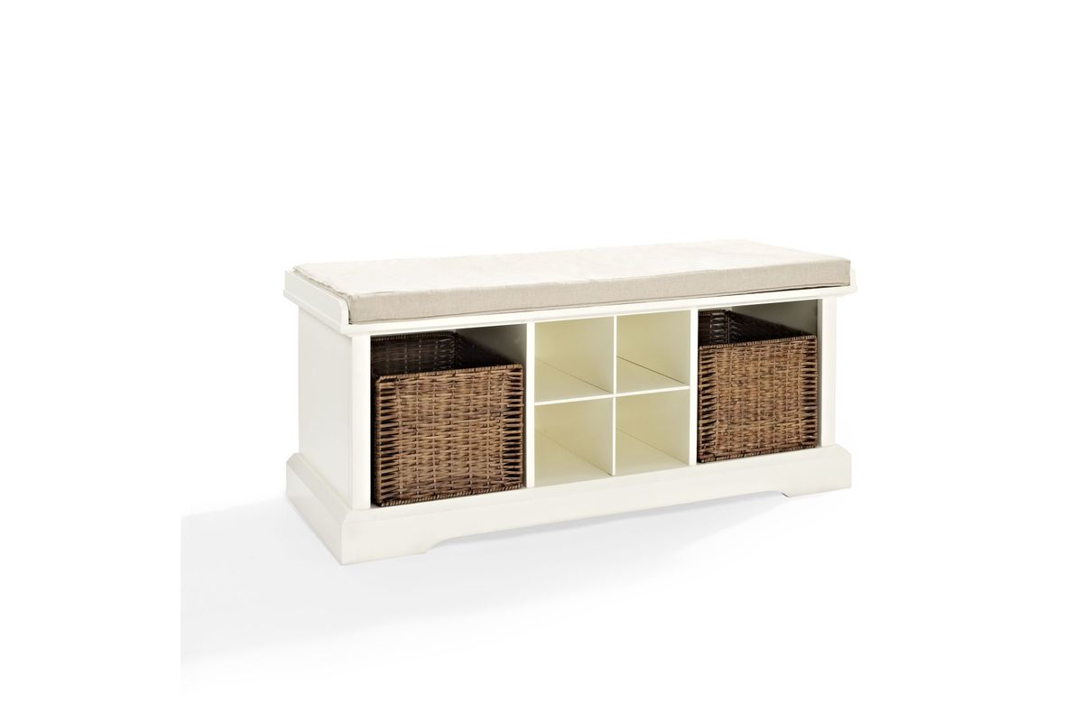 Brennan Entryway Storage Bench In White By Crosley At