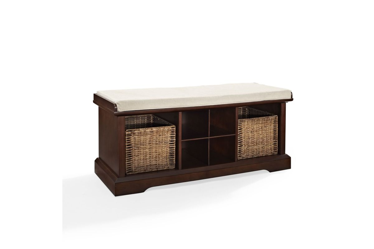 Brennan entryway storage bench in mahogany by crosley at for Gardner storage
