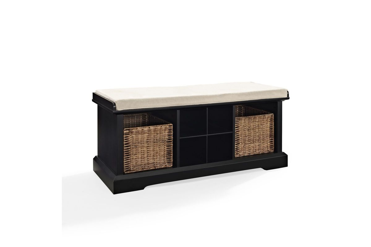 Brennan entryway storage bench in black by crosley at for Gardner storage