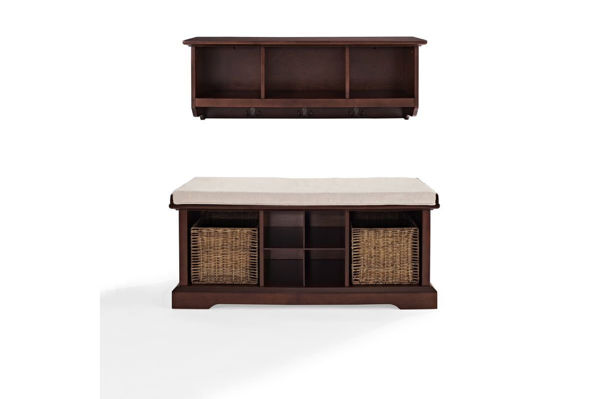 Brennan 2 piece entryway bench and shelf set in mahogany by crosley Entryway bench and shelf
