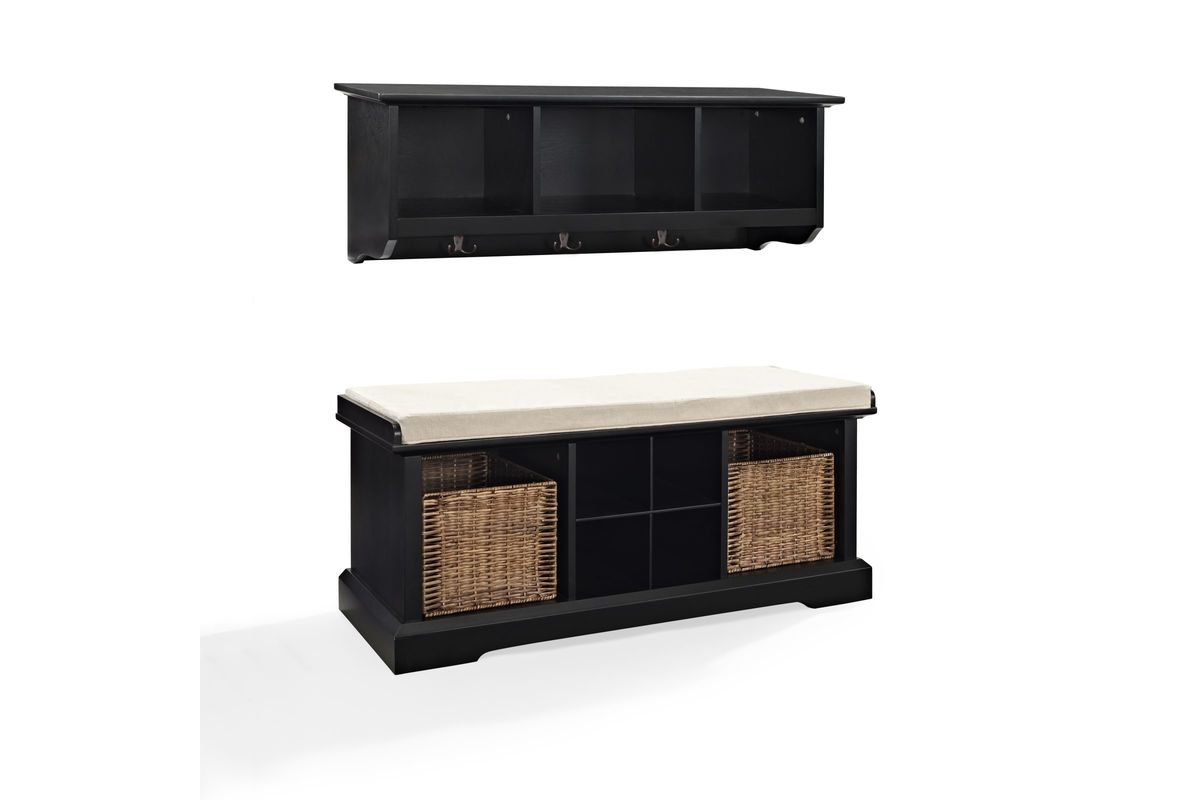 Brennan 2 Piece Entryway Bench And Shelf Set In Black By