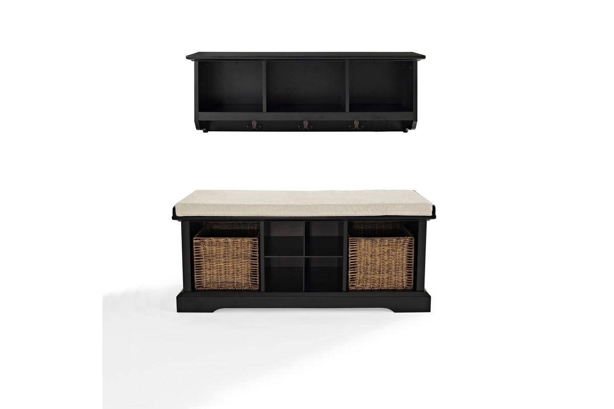 brennan 2 piece entryway bench and shelf set in black by. Black Bedroom Furniture Sets. Home Design Ideas