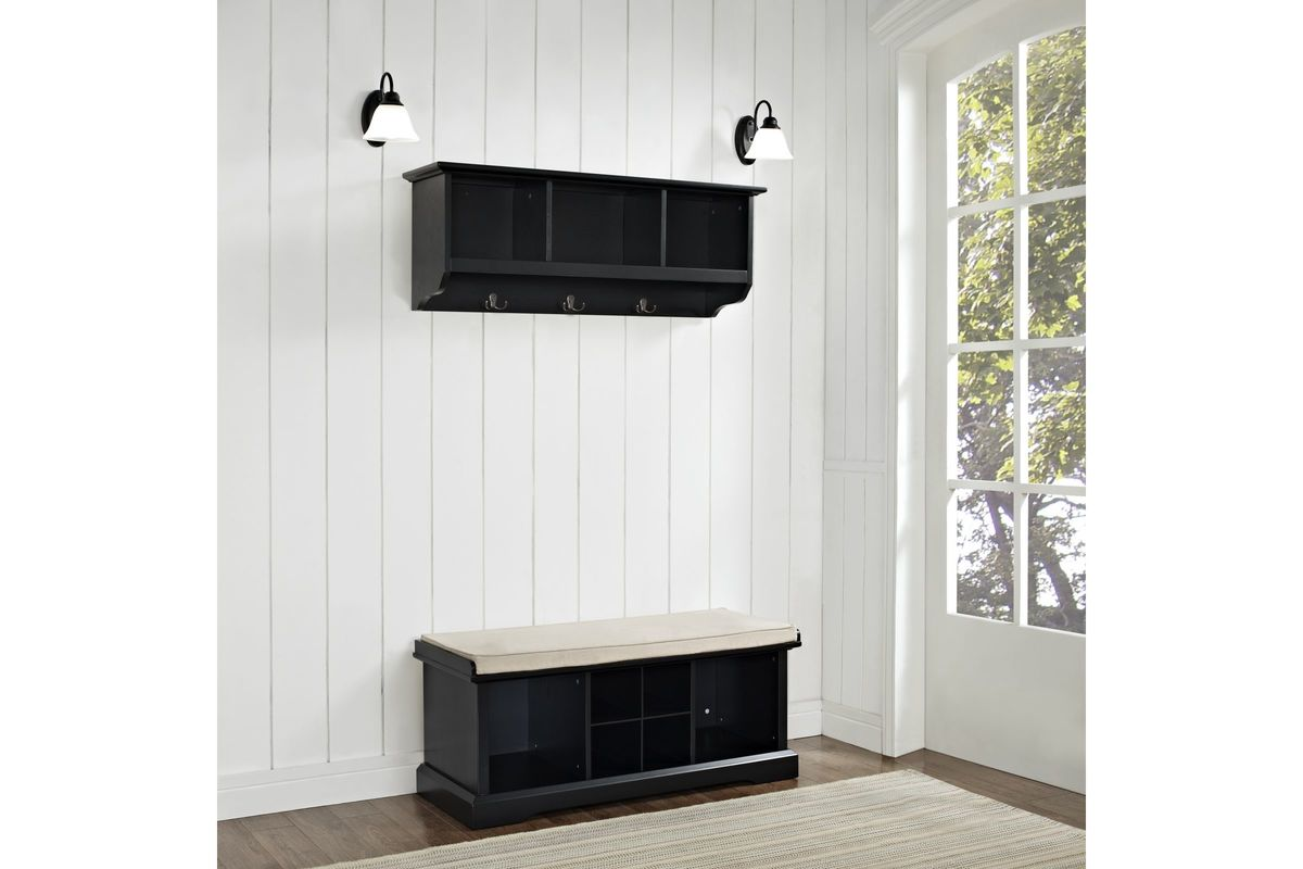 Brennan 2 piece entryway bench and shelf set in black by crosley Entryway bench and shelf