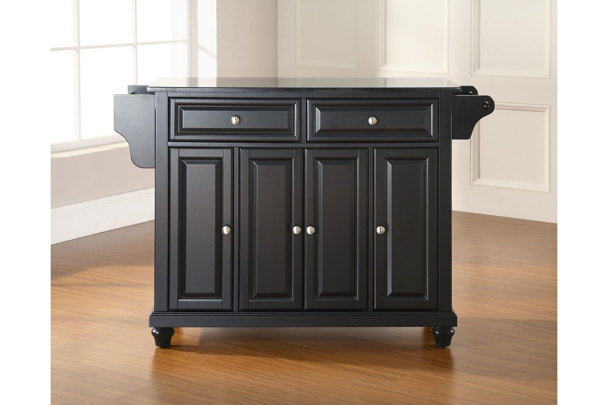 Cambridge solid black granite top kitchen island in black for Black kitchen island with granite top