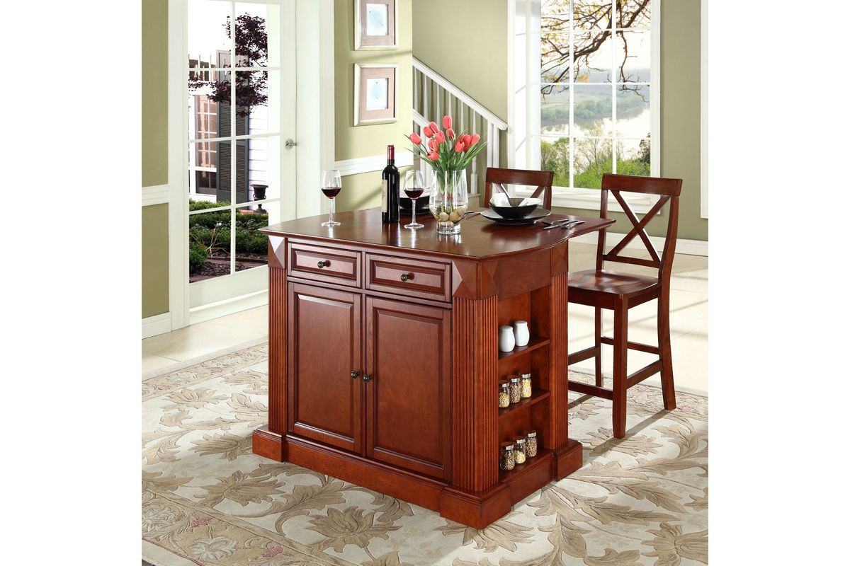 Coventry Drop Leaf Breakfast Bar Top Kitchen Island In Cherry Two 24 Cherry Stools By Crosley