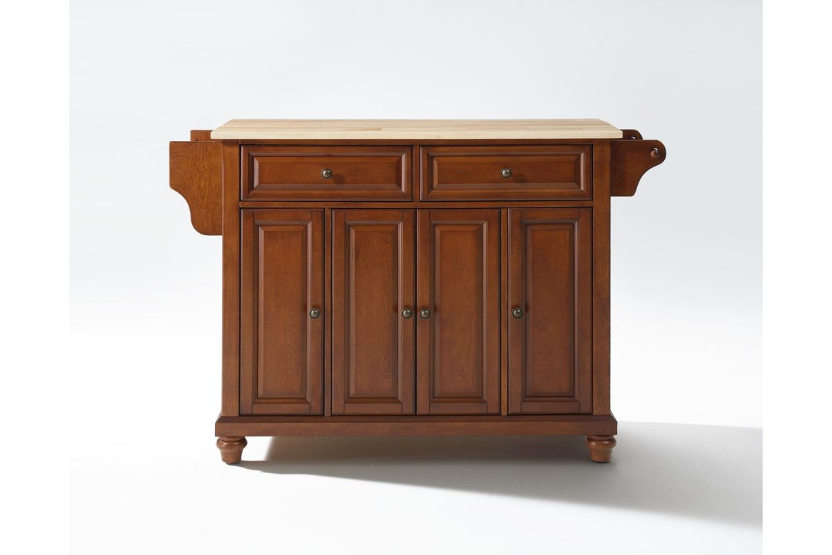 Cambridge Natural Wood Top Kitchen Island In Classic