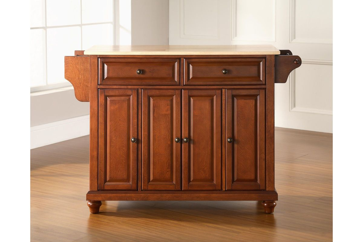 Cambridge Natural Wood Top Kitchen Island In Classic Cherry Finish By Crosley