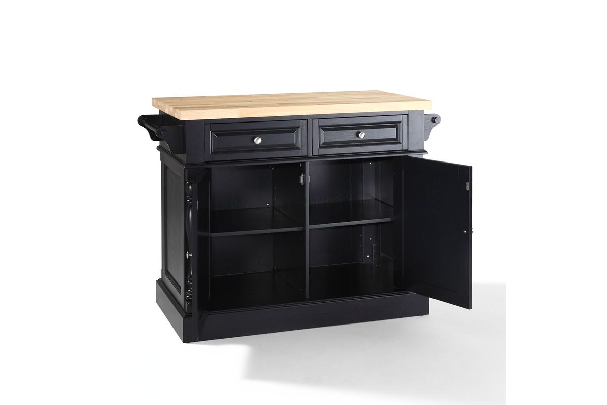 oxford butcher block top kitchen island in black finish by