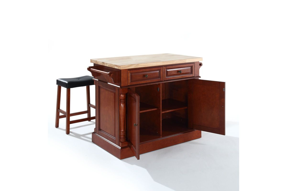 Oxford Butcher Block Top Kitchen Island In Cherry With Two