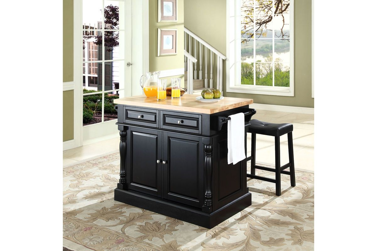 Oxford Butcher Block Top Kitchen Island In Black With Two