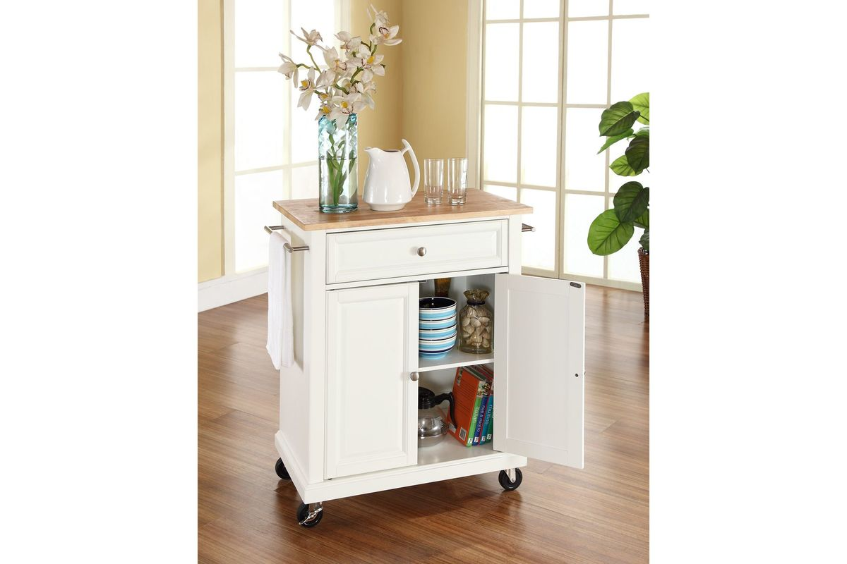 natural wood top portable kitchen cart island in white