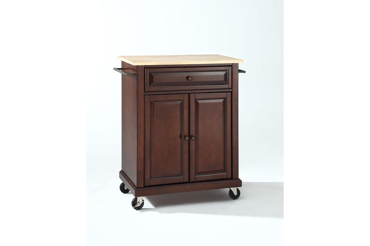 Natural Wood Top Portable Kitchen Cart Island In Vintage Mahogany Finish By Crosley