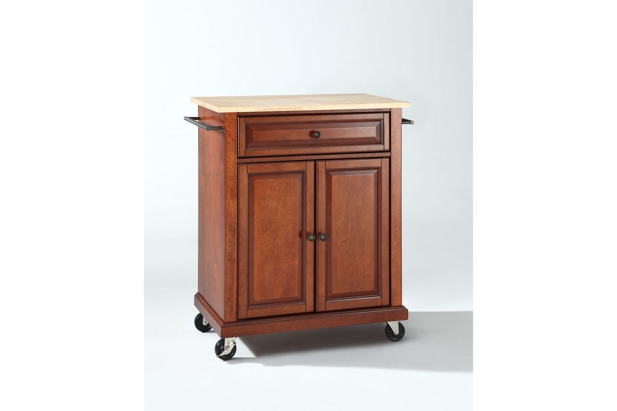 Natural Wood Top Portable Kitchen Cart Island In Classic Cherry Finish By Crosley