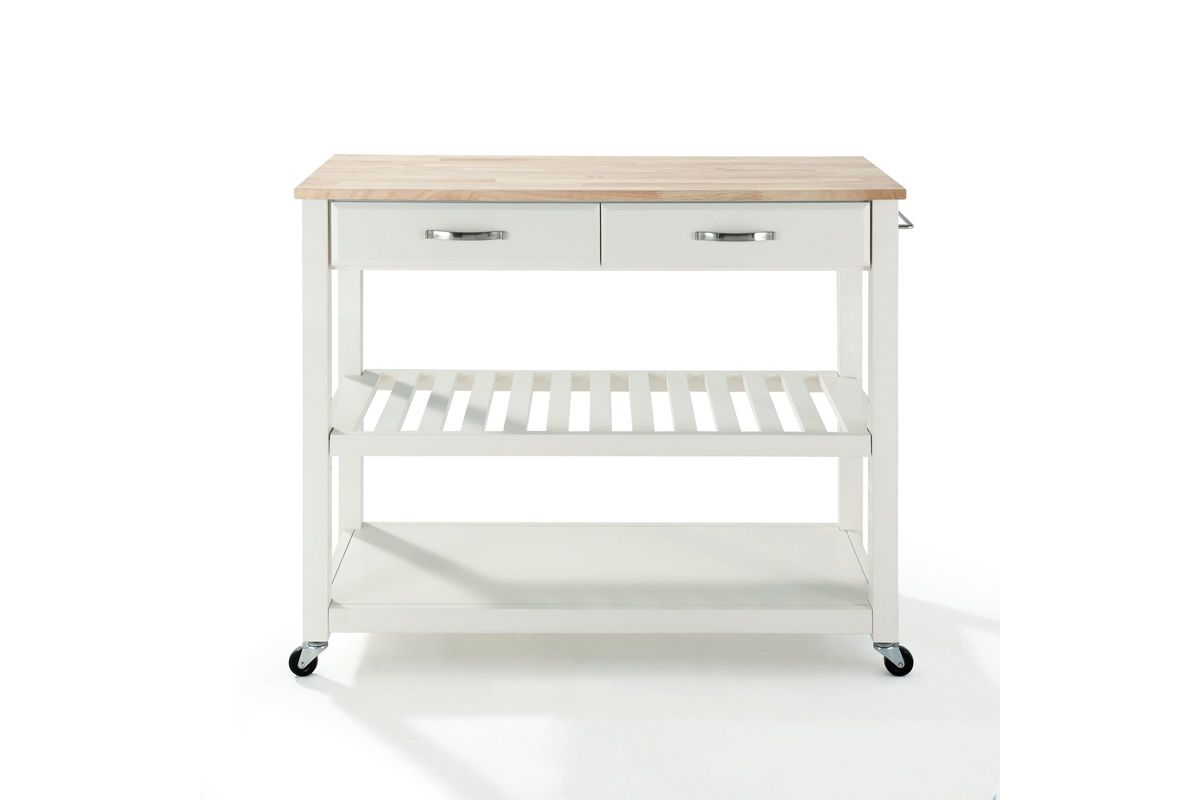 natural wood top kitchen cart island with optional stool storage in