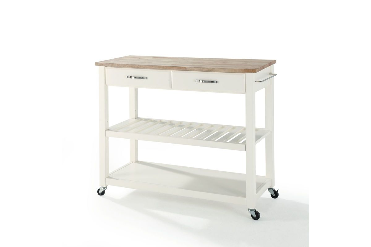 Natural Wood Top Kitchen Cart Island With Optional Stool