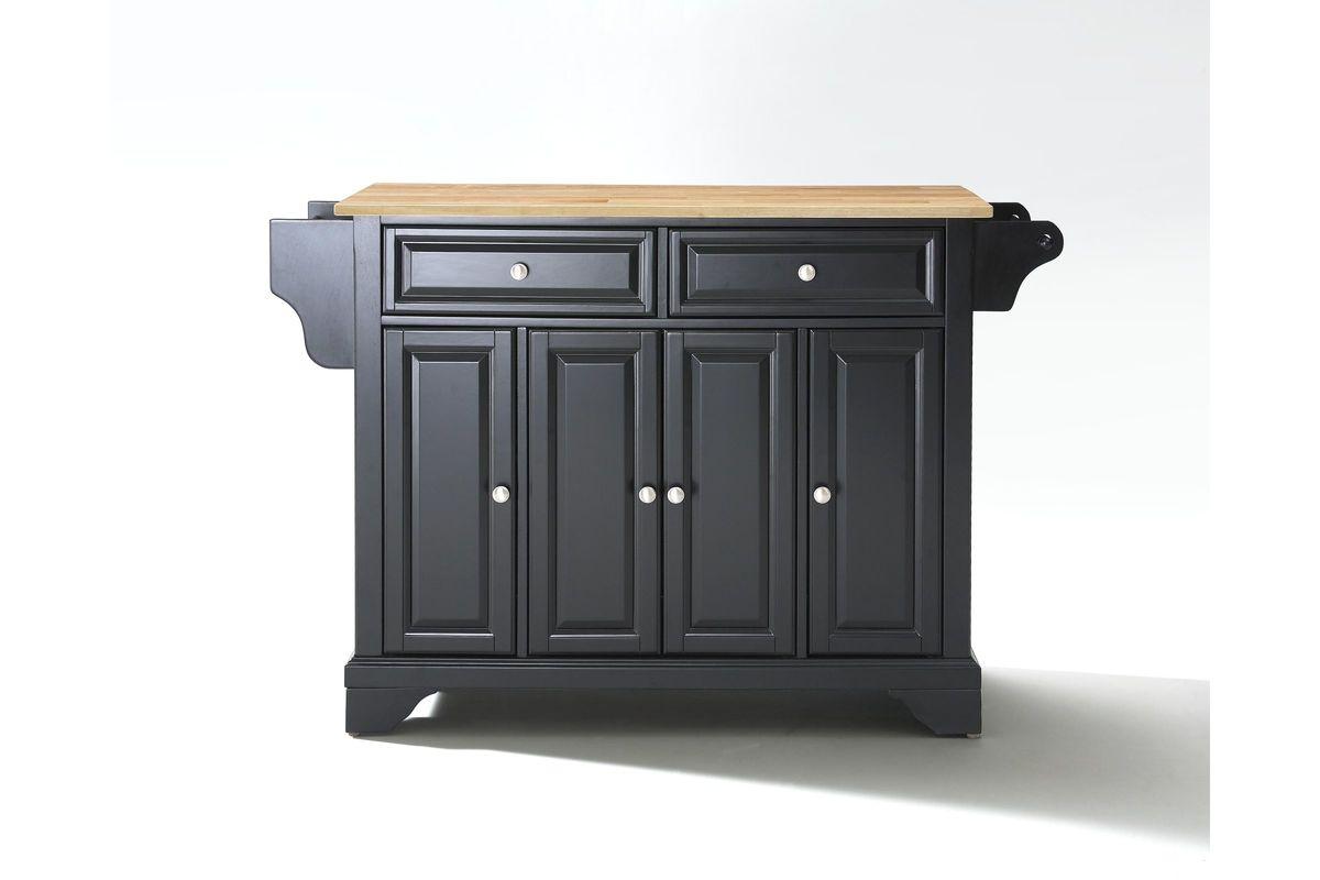 lafayette natural wood top kitchen island in black finish