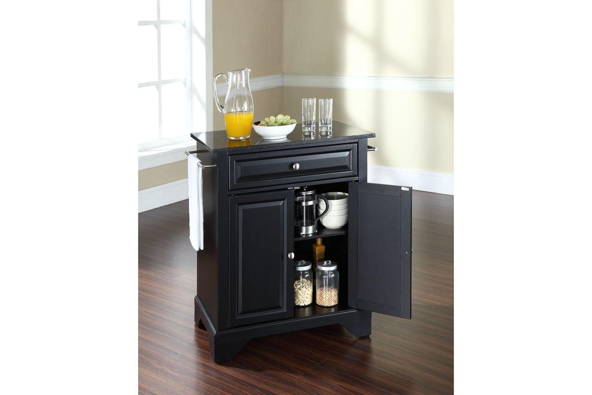 Lafayette Solid Black Granite Top Portable Kitchen Island