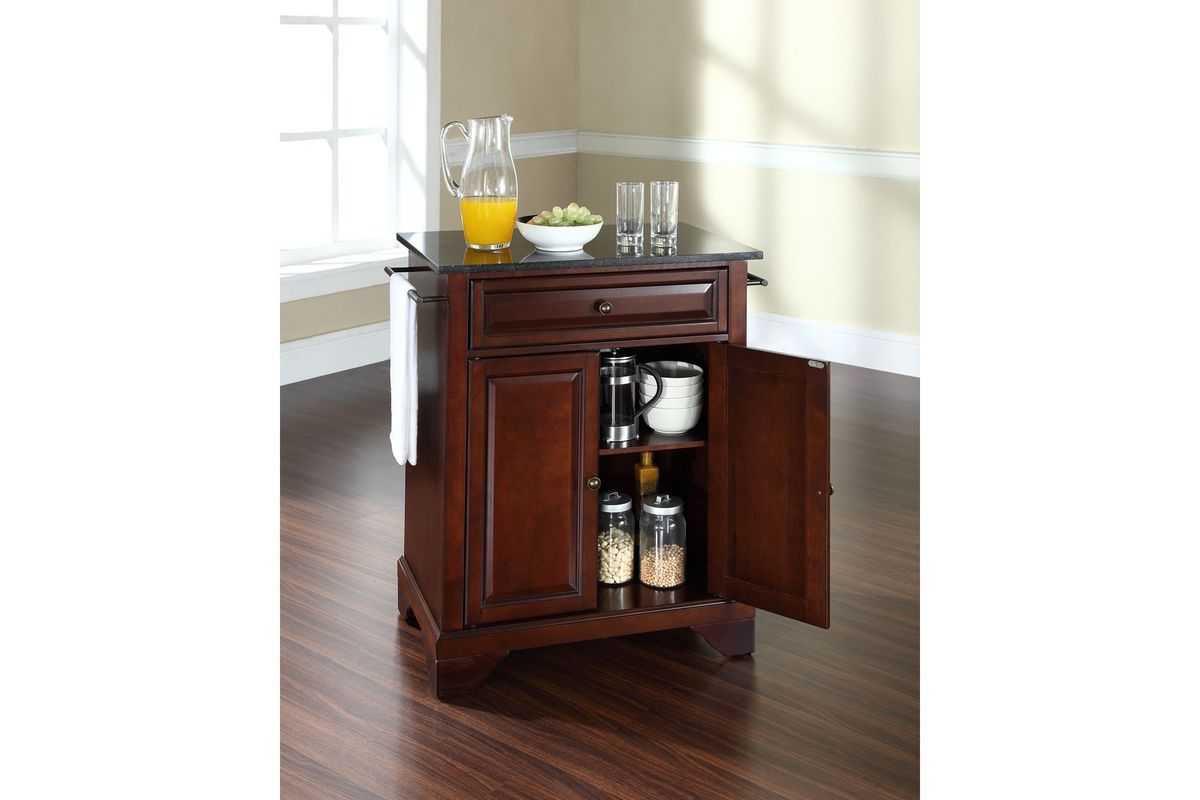 Lafayette solid black granite top portable kitchen island for Marble topped kitchen island