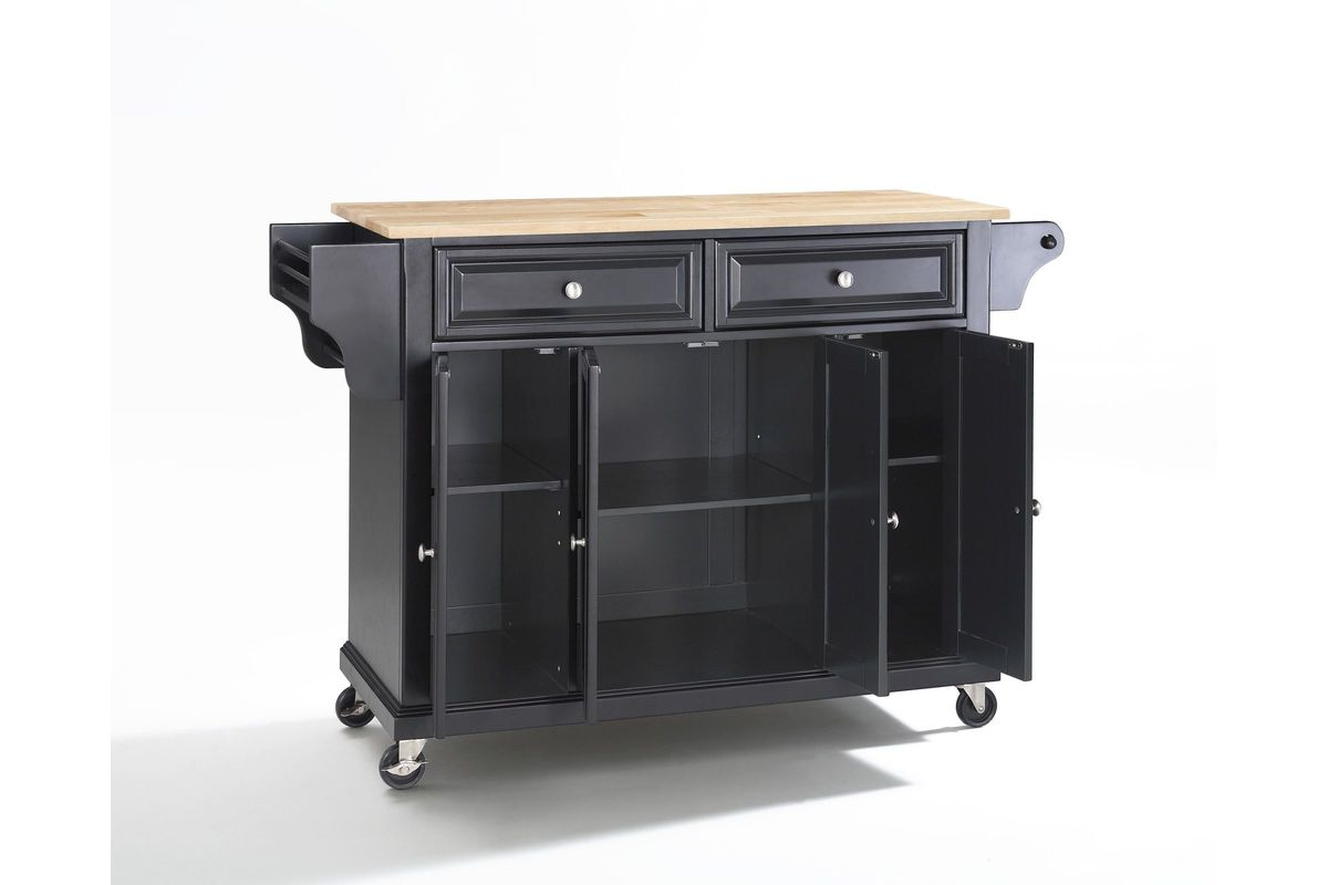 Natural Wood Top Kitchen Cart Island In Black Finish By